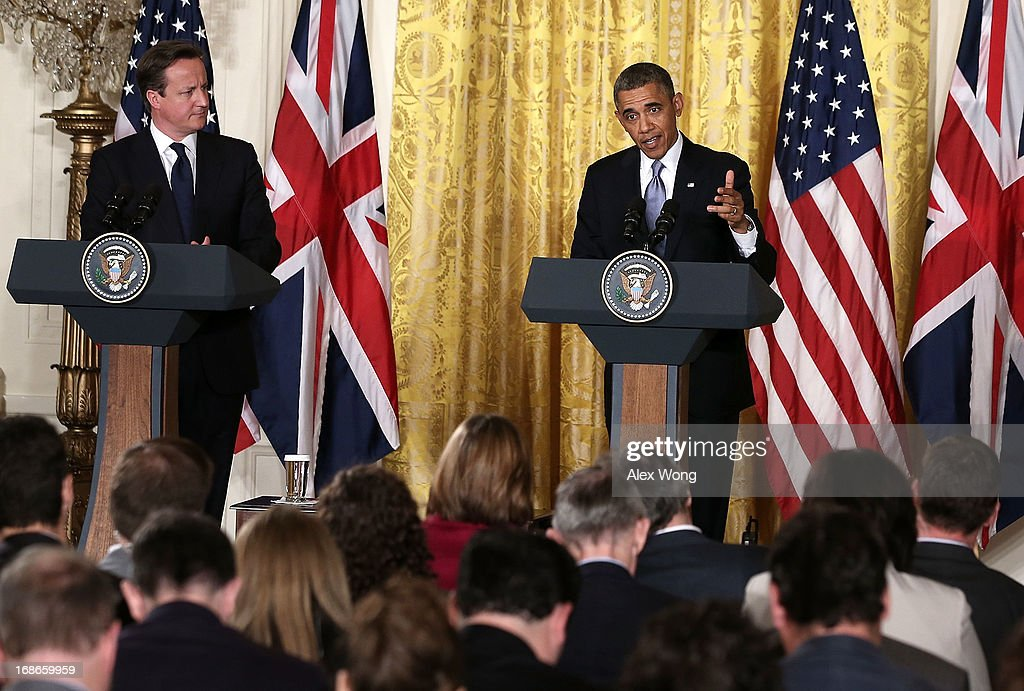 U.S. President <a gi-track='captionPersonalityLinkClicked' href=/galleries/search?phrase=Barack+Obama&family=editorial&specificpeople=203260 ng-click='$event.stopPropagation()'>Barack Obama</a> (R) and British Prime Minister <a gi-track='captionPersonalityLinkClicked' href=/galleries/search?phrase=David+Cameron+-+Politician&family=editorial&specificpeople=227076 ng-click='$event.stopPropagation()'>David Cameron</a> (L) hold a joint news conference in the East Room at the White House May 13, 2013 in Washington, DC. The two leaders discussed the prospect of an European Union-United States trade deal and the ongoing civil war in Syria. During his three-day visit to the United States, Cameron will also be briefed by the FBI about the Boston Marathon Bombings and will travel to New York to take part in United Nations talks on new development goals.