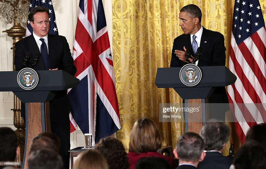 U.S. President Barack Obama (R) and British Prime Minister David Cameron (L) hold a joint news conference in the East Room at the White House May 13, 2013 in Washington, DC. The two leaders discussed the prospect of an European Union-United States trade deal and the ongoing civil war in Syria. During his three-day visit to the United States, Cameron will also be briefed by the FBI about the Boston Marathon Bombings and will travel to New York to take part in United Nations talks on new development goals.