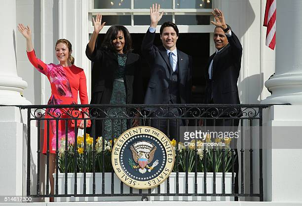 S President Barack Obama and Canadian Prime Minister Justin Trudeau US first lady Michelle Obama and Sophie GrégoireTrudeau wave to invited guests...