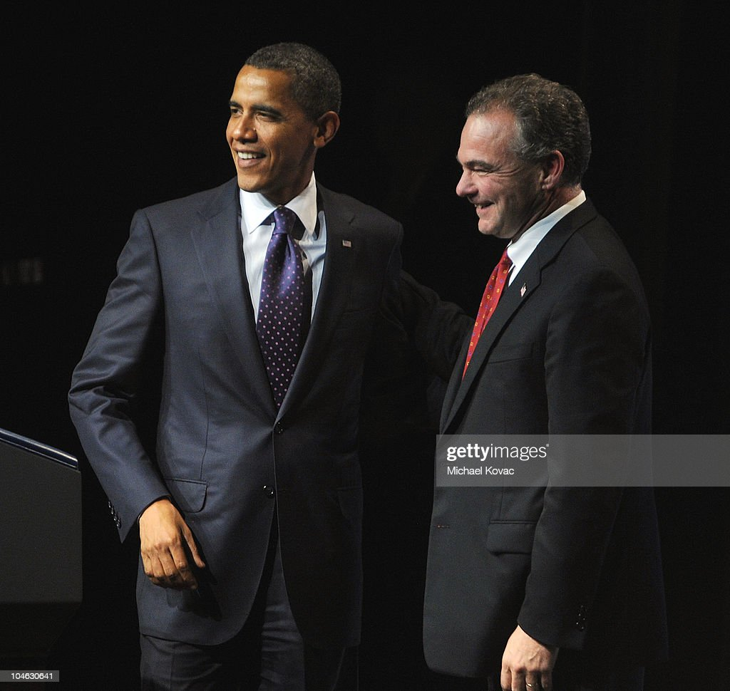 US President Barack Obama (L) and Chairman of the Democratic National Committee, Tim Kaine appear at an event presented by GEN44 and the Democratic National Committee at DAR Constitution Hall on September 30, 2010 in Washington, DC.