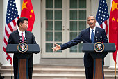 US President Barack Obama and Chinese President Xi Jinping attand a joint news conference in the Rose Garden at The White House on September 25 2015...