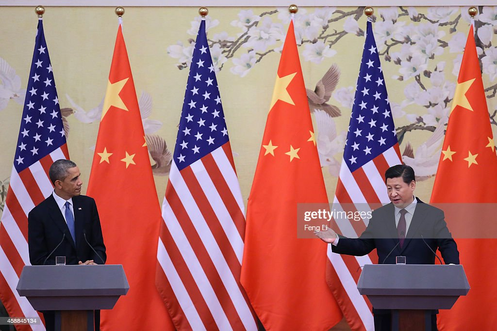 U.S. President Barack Obama (L) and Chinese President Xi Jinping (R) attend a press conference at the Great Hall of People on November 12, 2014 in Beijing, China. U.S. President Barack Obama pays a state visit to China after attending the 22nd Asia-Pacific Economic Cooperation (APEC) Economic Leaders' Meeting.