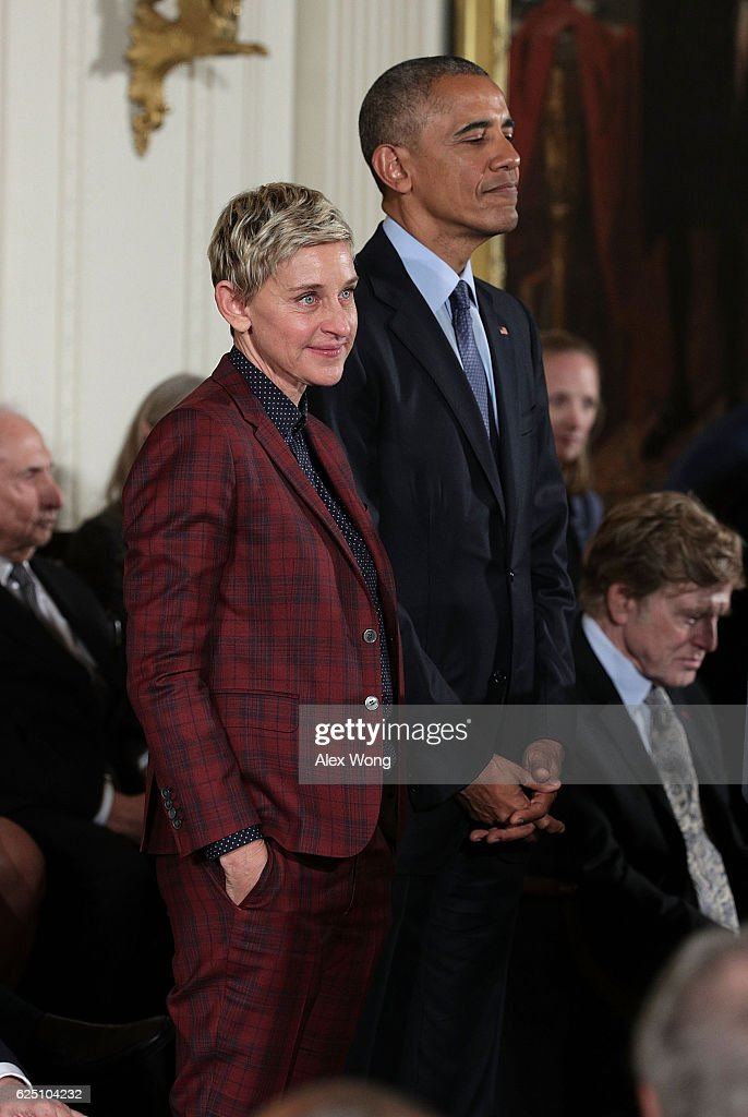 U.S. President Barack Obama and comedian and talk show host Ellen DeGeneres share a moment during a Presidential Medal of Freedom presentation ceremony at the White House November 22, 2016 in Washington, DC. The Presidential Medal of Freedom is the highest honor for civilians in the United States of America.