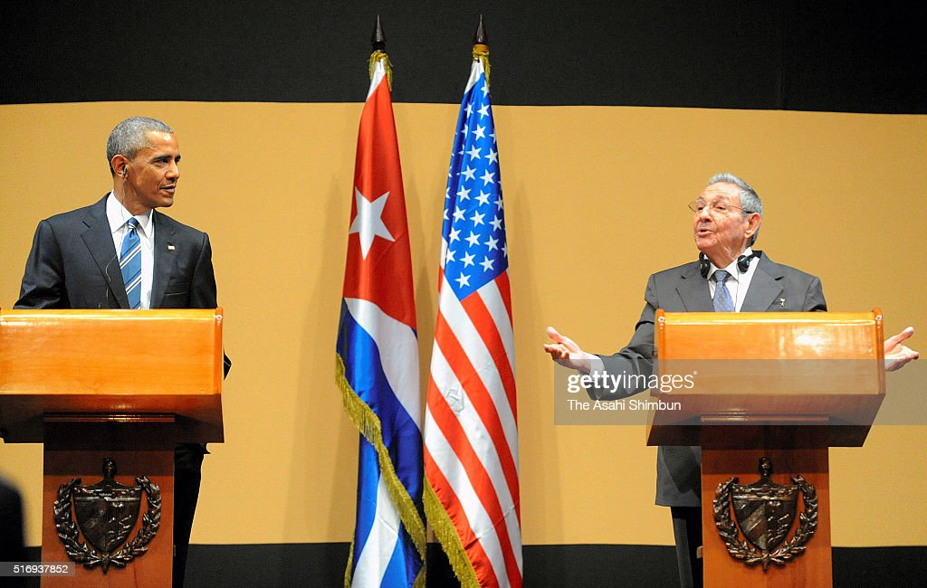 US President Barack Obama and Cuban President Raul Castro hold a joint press conference at the Cuban State Council on March 21 2016 in Havana Cuba Mr...