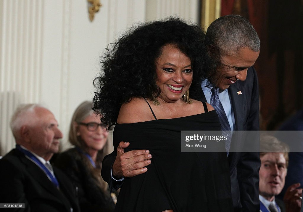 U.S. President Barack Obama and Diana Ross share a moment during a Presidential Medal of Freedom presentation ceremony at the White House November 22, 2016 in Washington, DC. The Presidential Medal of Freedom is the highest honor for civilians in the United States of America.