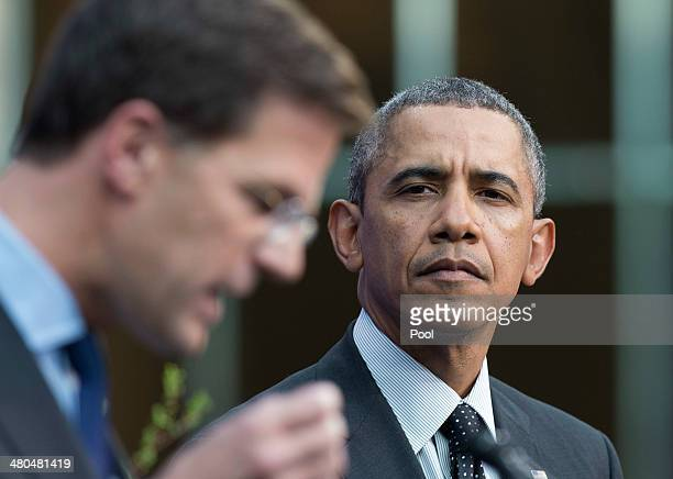 S President Barack Obama and Dutch Prime Minister Mark Rutte chairman of the Nuclear Security Summit 2014 speak during a press conference March 25...