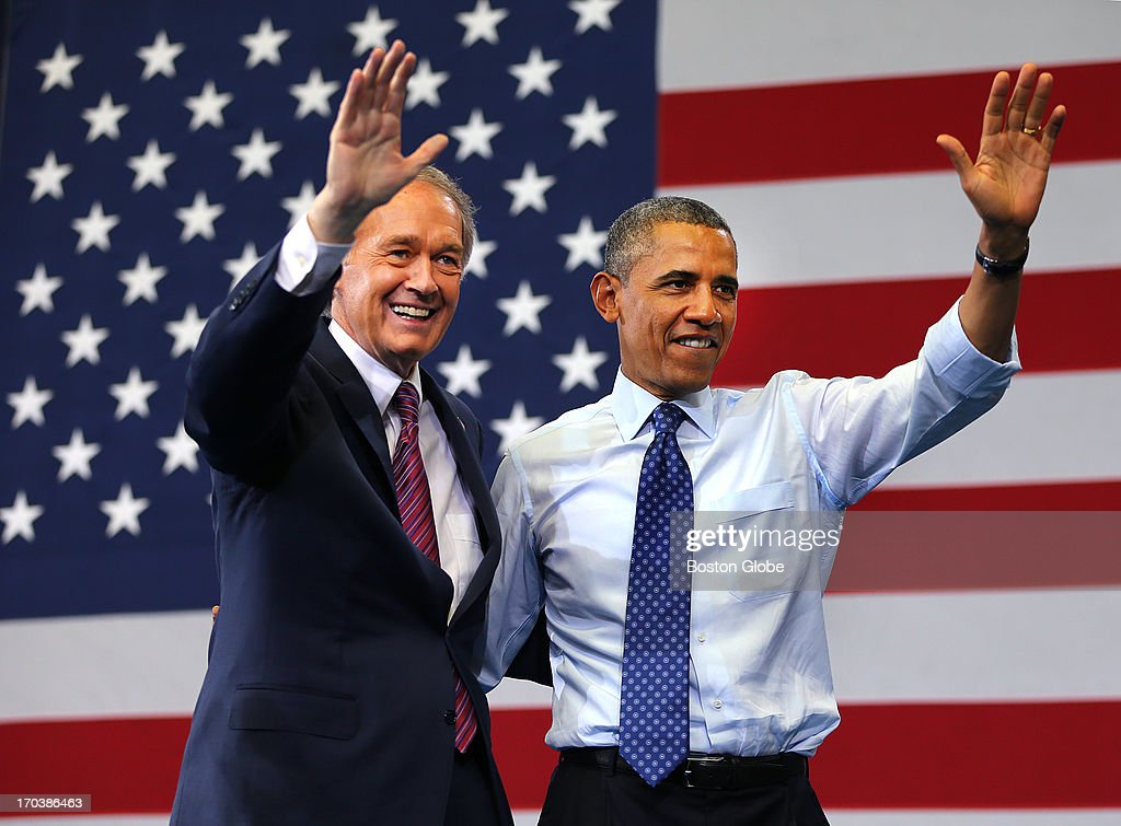 President Barack Obama and Ed Markey wave to the crowd during a rally at the Reggie Lewis Track and Athletic Center. President Barack Obama visited Boston on behalf of Congressman Ed Markey, who is running for the open U.S. Senate seat vacated by Secretary of State John Kerry.