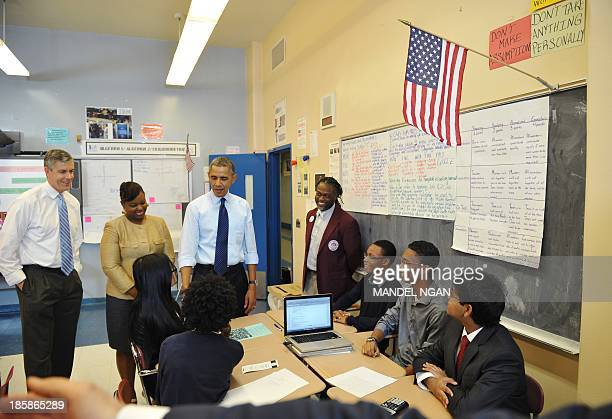 US President Barack Obama and Education Secretary Arne Duncan visit a classroom at Pathways in Technology Early College High School in Brooklyn New...