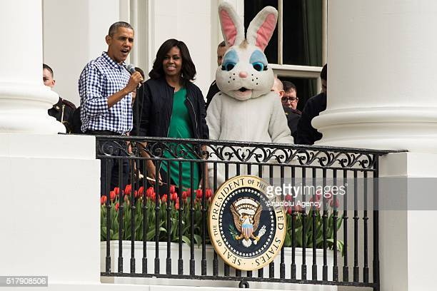 President Barack Obama and First Lady Michele Obama welcome everyone to the annual Easter Egg Roll at the White House in Washington USA on March 28...