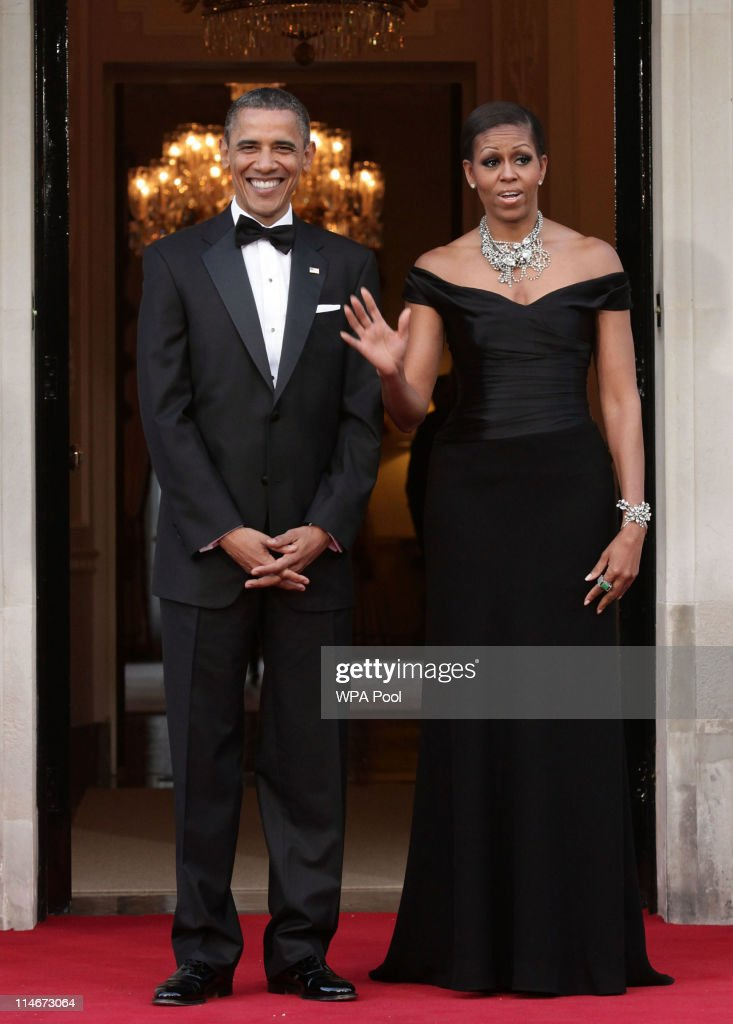 U.S. President Barack Obama and First Lady Michelle Obama arrive at Winfield House, the residence of the Ambassador of the United States of America, in Regent's Park, on May 25, 2011 in London, England. The 44th President of the United States, Barack Obama, and First Lady Michelle are in the UK for a two day State Visit at the invitation of HM Queen Elizabeth II. Last night they attended a state banquet at Buckingham Palace and today's events include talks at Downing Street and the President will address both houses of Parliament at Westminster Hall.