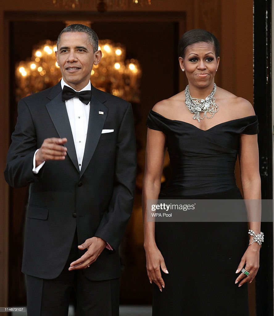 U.S. President <a gi-track='captionPersonalityLinkClicked' href=/galleries/search?phrase=Barack+Obama&family=editorial&specificpeople=203260 ng-click='$event.stopPropagation()'>Barack Obama</a> and First Lady <a gi-track='captionPersonalityLinkClicked' href=/galleries/search?phrase=Michelle+Obama&family=editorial&specificpeople=2528864 ng-click='$event.stopPropagation()'>Michelle Obama</a> arrive at Winfield House, the residence of the Ambassador of the United States of America, in Regent's Park, on May 25, 2011 in London, England. The 44th President of the United States, <a gi-track='captionPersonalityLinkClicked' href=/galleries/search?phrase=Barack+Obama&family=editorial&specificpeople=203260 ng-click='$event.stopPropagation()'>Barack Obama</a>, and First Lady Michelle are in the UK for a two day State Visit at the invitation of HM Queen Elizabeth II. Last night they attended a state banquet at Buckingham Palace and today's events include talks at Downing Street and the President will address both houses of Parliament at Westminster Hall.