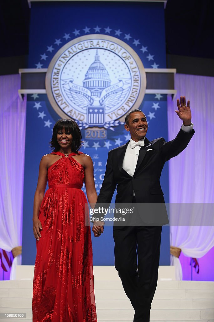 U.S. President Barack Obama and first lady Michelle Obama arrive for the Inaugural Ball at the Walter Washington Convention Center January 21, 2013 in Washington, DC. Obama was sworn-in for his second term of office earlier in the day.