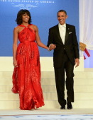 S President Barack Obama and first lady Michelle Obama arrive together for The Inaugural Ball at the Walter E Washington Convention Center on January...