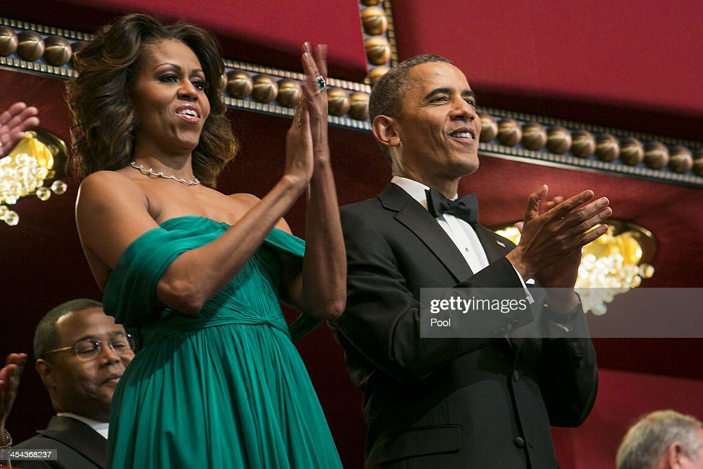 President <a gi-track='captionPersonalityLinkClicked' href=/galleries/search?phrase=Barack+Obama&family=editorial&specificpeople=203260 ng-click='$event.stopPropagation()'>Barack Obama</a> and First Lady <a gi-track='captionPersonalityLinkClicked' href=/galleries/search?phrase=Michelle+Obama&family=editorial&specificpeople=2528864 ng-click='$event.stopPropagation()'>Michelle Obama</a> attend the 2013 Kennedy Center Honors on December 8, 2013 in Washington, DC. The honorees this year include: opera singer Martina Arroyo, jazz musician Herbie Hancock, musician Billy Joel, actress Shirley MacLaine and musician Carlos Santana.