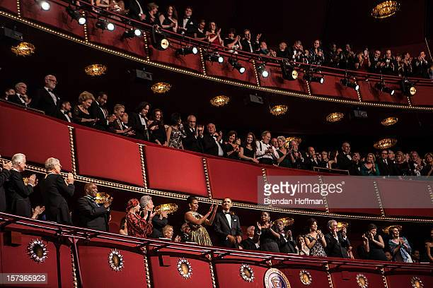 US President Barack Obama and first lady Michelle Obama attend the Kennedy Center Honors at the Kennedy Center on December 2 2012 in Washington DC...