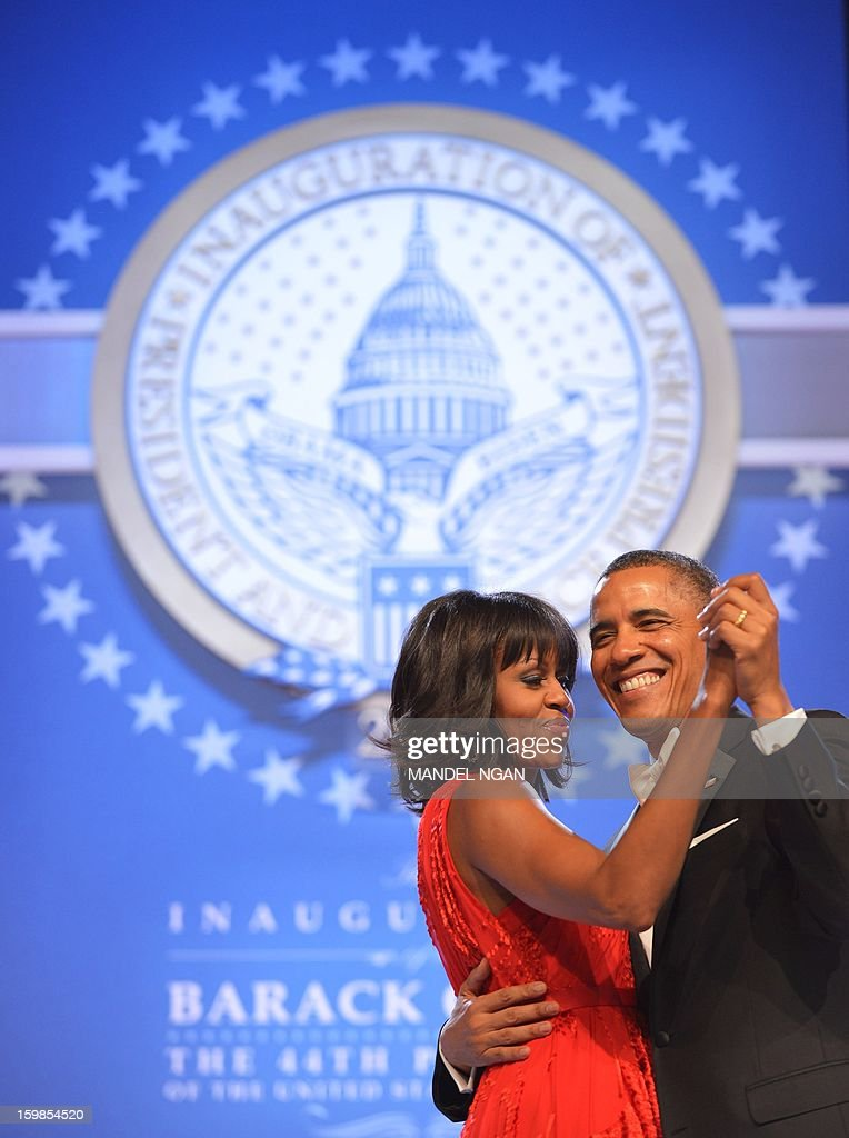 US President Barack Obama and First Lady Michelle Obama attend the Inaugural Ball at the Walter E. Washington Convention Center on January 21, 2013 in Washington, DC. AFP PHOTO/MANDEL NGAN