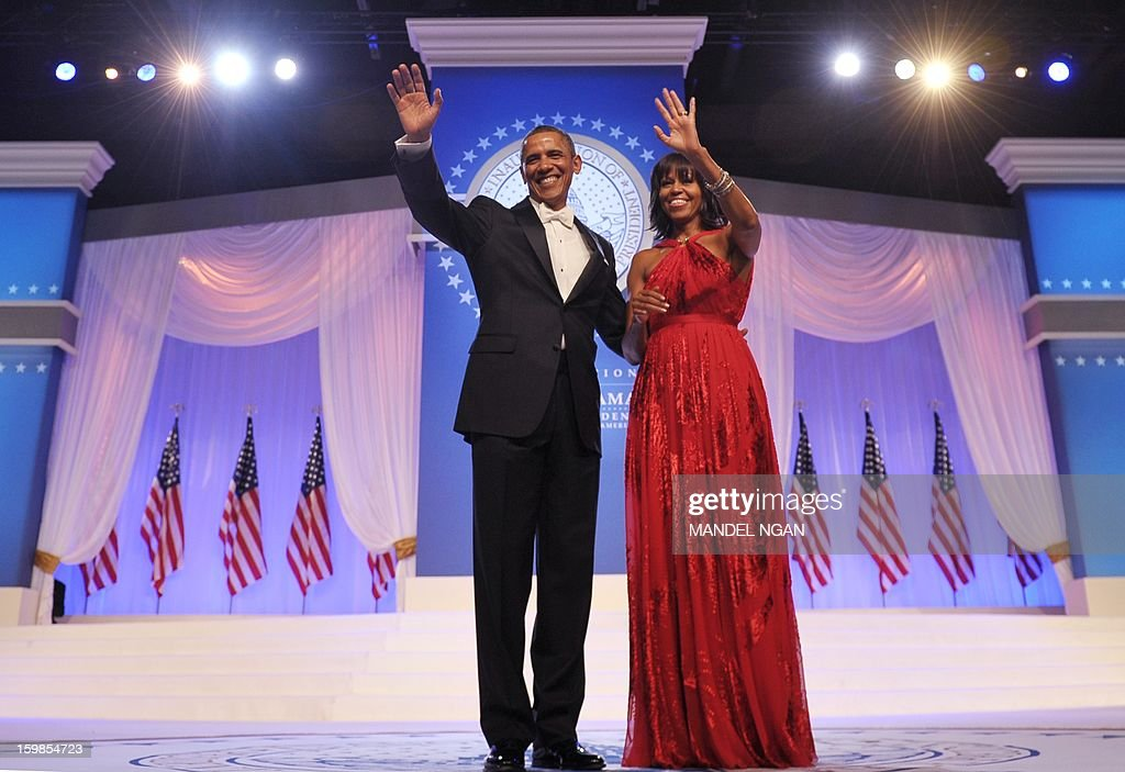 US President Barack Obama and First Lady Michelle Obama attend the Inaugural Ball at the Walter E. Washington Convention Center on January 21, 2013 in Washington, DC.