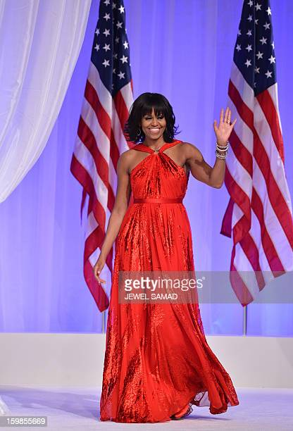 US President Barack Obama and First Lady Michelle Obama attend the CommanderinChief's Ball honoring US service members and their families at the...