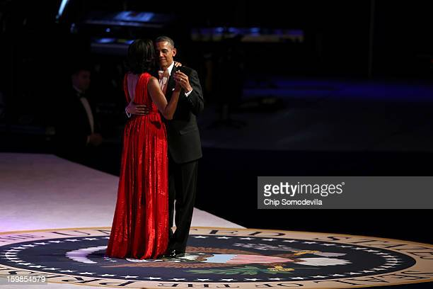 S President Barack Obama and first lady Michelle Obama dance at the Commander in Chief Inaugural Ball at the Walter E Washington Convention Center on...