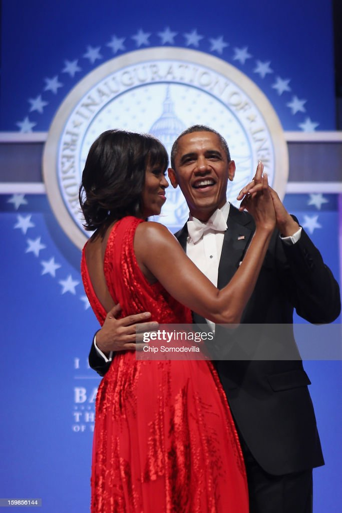 U.S. President Barack Obama and first lady Michelle Obama dance together during the Inaugural Ball at the Walter Washington Convention Center January 21, 2013 in Washington, DC. Obama was sworn-in for his second term of office earlier in the day.