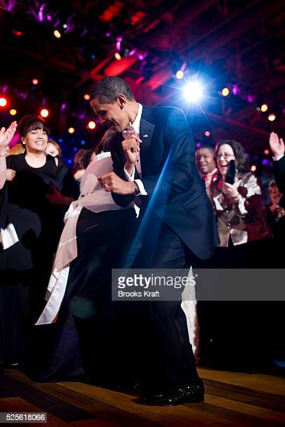 President Barack Obama and first lady Michelle Obama dance together as Beyonce performs at the Neighborhood Inaugural Ballin Washington DC