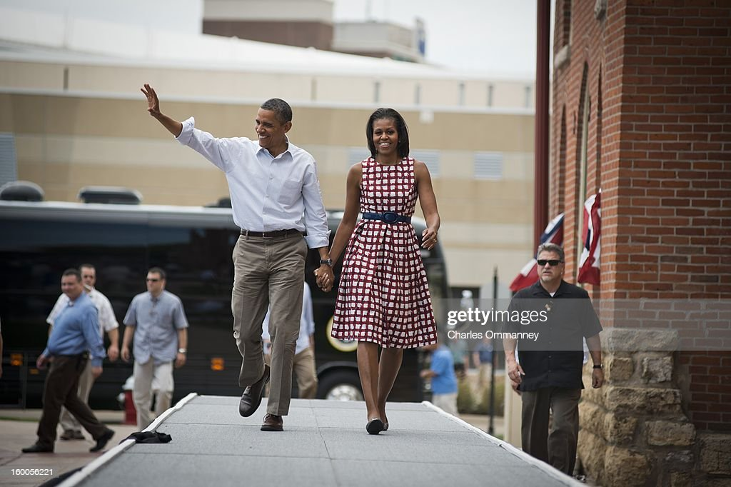 President Barack Obama and First Lady Michelle Obama deliver remarks during a campaign event in Davenport Iowa on August 15 during the President's...