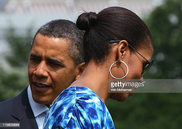S President Barack Obama and first lady Michelle Obama depart the White House June 10 2011 in Washington DC The Obamas are scheduled to spend the...