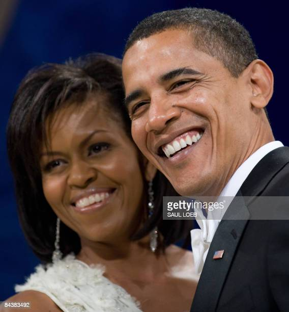 US President Barack Obama and First Lady Michelle Obama during the Midatlantic Regional Inaugural Ball at the Washington Convention Center in...