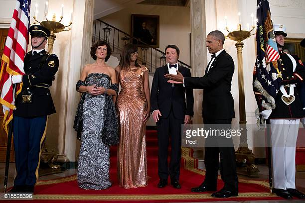 President Barack Obama and First Lady Michelle Obama pose for the official picture with Italian Prime Minister Matteo Renzi and Italian First Lady...