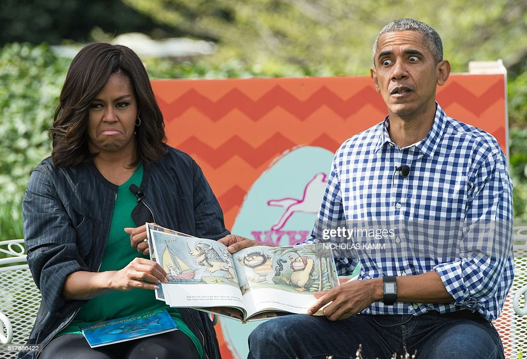 President Barack Obama and First Lady Michelle Obama read Maurice Sendak's 'Where the Wild Things Are' to children at the annual Easter Egg Roll at...