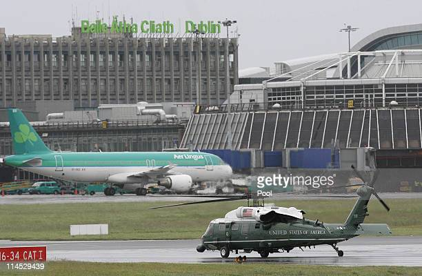 S President Barack Obama and first lady Michelle Obama take off in Marine One upon their arrival at the Dublin Airport May 23 2011 in Dublin Ireland...
