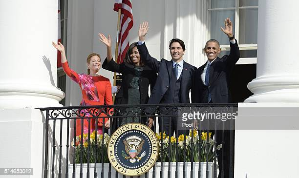 President Barack Obama and First Lady Michelle Obama welcome Canadian Prime Minister Justin Trudeauand Sophie GrégoireTrudeau to the White House for...