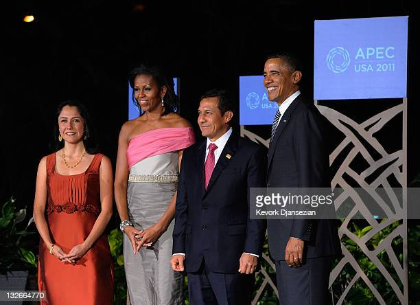 President Barack Obama and First Lady Michelle Obama welcome Peru President Ollanta Humala and his wife Nadine Heredia at the the AsiaPacific...