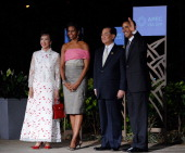 President Barack Obama and First lady Michelle Obama welcome Taiwan's special envoy Lien Chan and his wife Fang Yui at the the AsiaPacific Economic...