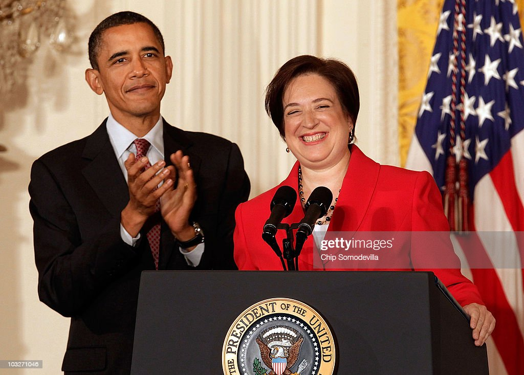U.S. President Barack Obama (L) and former U.S. Solicitor General and Supreme Court designated Associate Justice Elena Kagan participate in a reception in honor of Kagan's confirmation in the East Room of the White House on August 6, 2010 in Washington, DC. The senate voted 63-37 to approve Kagan, who will be 112th justice and fourth female justice ever to be appointed to the court.