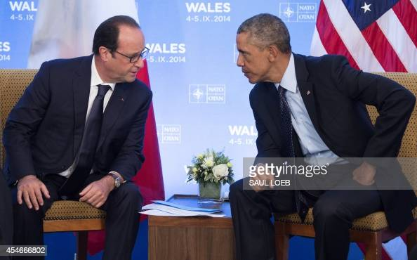 US President Barack Obama and French President Francois Hollande hold a meeting on the second day of the NATO 2014 Summit at the Celtic Manor Resort...
