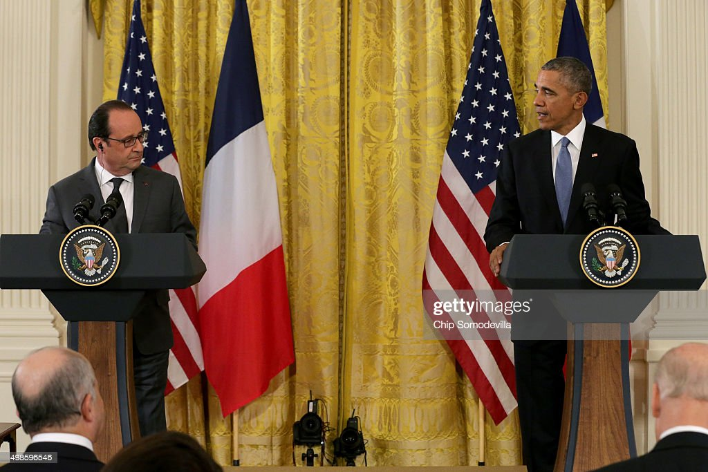 S President Barack Obama and French President Francois Hollande hold a joint press conference in the East Room of the White House on November 24 2015...