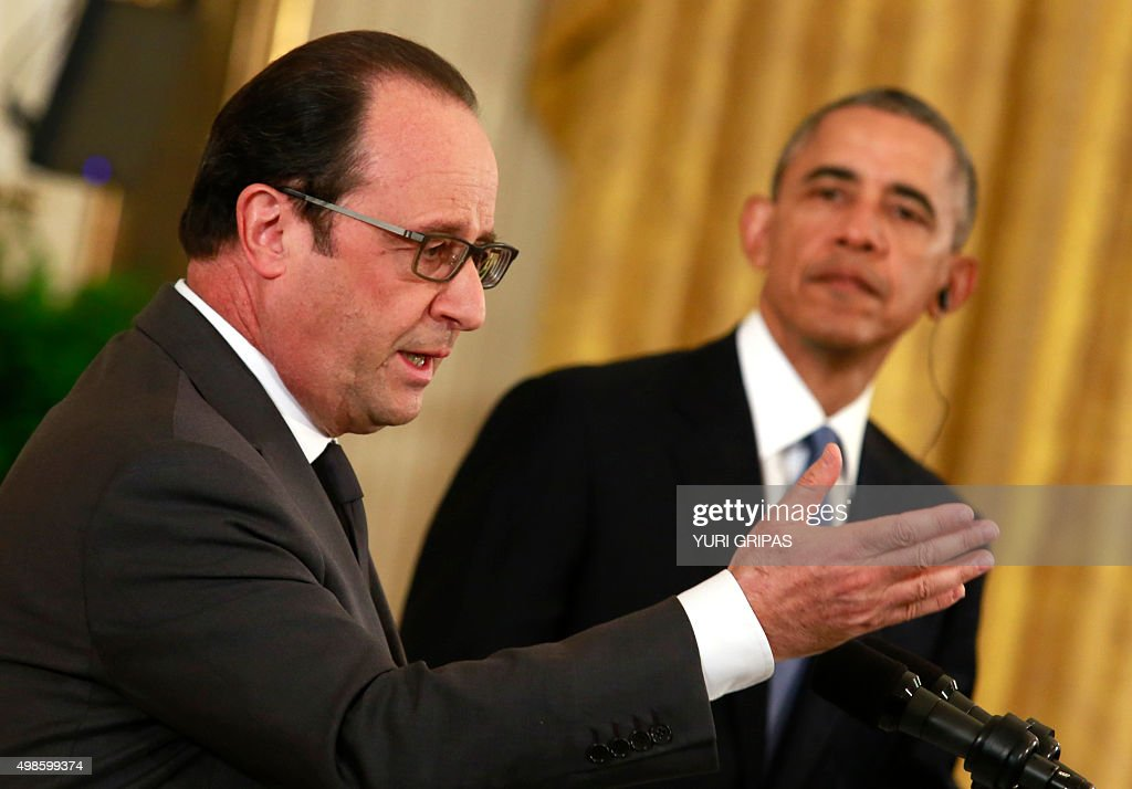 US President Barack Obama and French President Francois Hollande hold a joint news conference after their meeting at the White House in WashingtonDC...