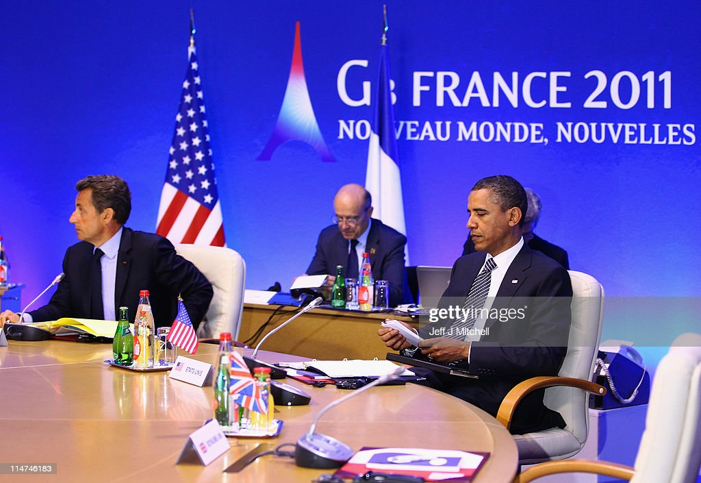 U.S. President Barack Obama, and French President Nicolas Sarkozy attend the first round table meeting at the G8 summit on May 26, 2011 in Deauville France. Heads of the of the world's wealthiest nations are meeting in Deauville, France, for the G8 summit, and the recent Arab uprisings are set to dominate the agenda