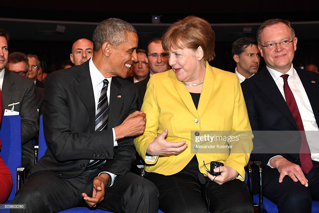 U.S. President <a gi-track='captionPersonalityLinkClicked' href=/galleries/search?phrase=Barack+Obama&family=editorial&specificpeople=203260 ng-click='$event.stopPropagation()'>Barack Obama</a> and German chancellor <a gi-track='captionPersonalityLinkClicked' href=/galleries/search?phrase=Angela+Merkel&family=editorial&specificpeople=202161 ng-click='$event.stopPropagation()'>Angela Merkel</a> joke around proir to the opening evening of the Hannover Messe trade fair on April 24, 2016 in Hanover, Germany. Obama met with German Chancellor <a gi-track='captionPersonalityLinkClicked' href=/galleries/search?phrase=Angela+Merkel&family=editorial&specificpeople=202161 ng-click='$event.stopPropagation()'>Angela Merkel</a> in Hanover earlier in the day and is scheduled to tour exhibition halls at the fair tomorrow. Hannover Messe is the world's largest industrial trade fair.