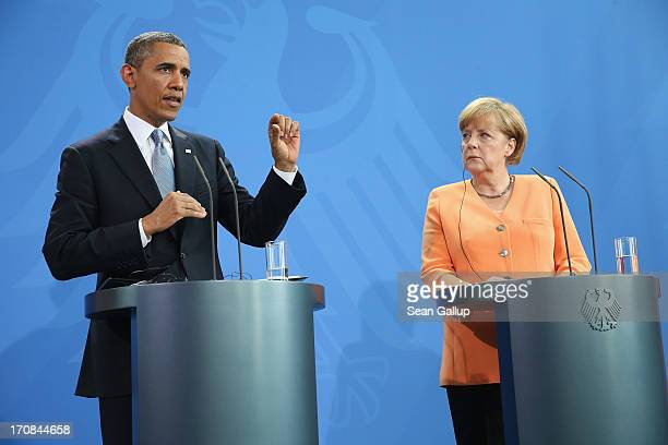 S President Barack Obama and German Chancellor Angela Merkel speak to the media following bilateral talks at the Chancellery on June 19 2013 in...