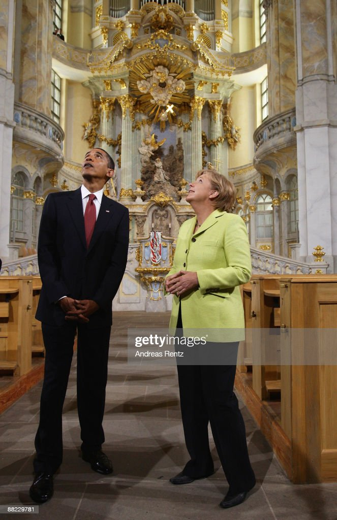 US President <a gi-track='captionPersonalityLinkClicked' href=/galleries/search?phrase=Barack+Obama&family=editorial&specificpeople=203260 ng-click='$event.stopPropagation()'>Barack Obama</a> and German Chancellor <a gi-track='captionPersonalityLinkClicked' href=/galleries/search?phrase=Angela+Merkel&family=editorial&specificpeople=202161 ng-click='$event.stopPropagation()'>Angela Merkel</a> tour Dresden's landmark, the Frauenkirche (Church of Our Lady) on June 5, 2009 in Dresden, Germany. After policy talks and a news conference in Dresden, Obama and Merkel are due to travel to Buchenwald, the former Nazi concentration camp where more than 56,000 prisoners died in horrendous conditions.