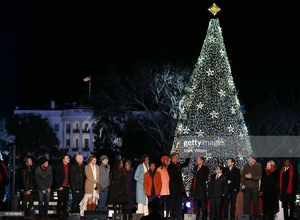 U.S. President Barack Obama and his family are joined by entertainers onstage while singing Christmas songs during the annual lighting of the National Christmas tree on December 6, 2012 in Washington, DC. This year is the 90th annual National Christmas Tree Lighting Ceremony.
