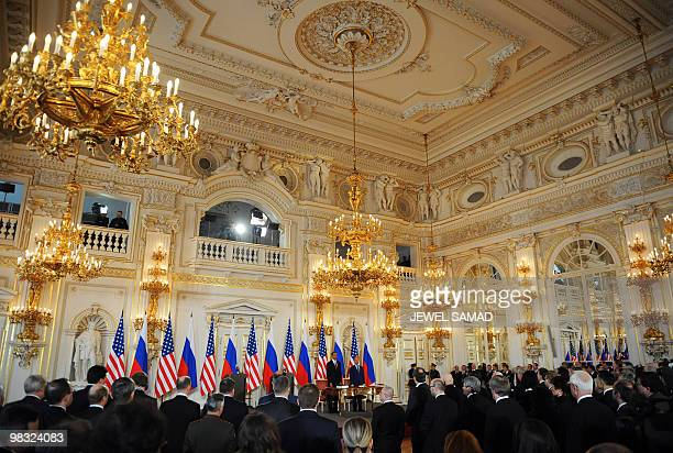 US President Barack Obama and his Russian counterpart Dmitry Medvedev arrive to sign a landmark treaty at the Prague Castle in Prague on April 8 2010...