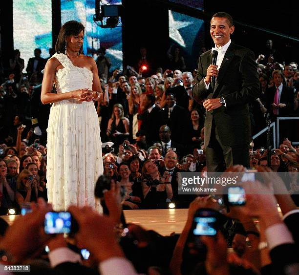 President Barack Obama and his wife and First Lady Michelle Obama talk to the gathered crowd during the first Inaugural Ball the Neighborhood Ball on...