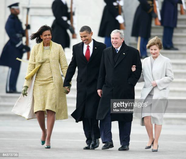 President Barack Obama and his wife Michelle walk former president George W Bush and his wife Laura to a waiting helicopterafter the inauguration of...