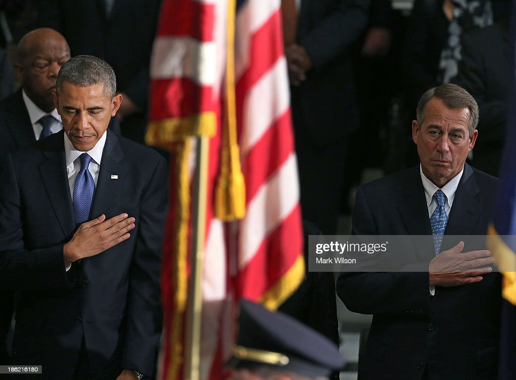 U.S. President Barack Obama (L) and House Speaker John Boehner (R-OH) participate in a memorial service for former House Speaker Tom Foley (D-WA) at the U.S. Capitol October 29, 2013 in Washington, DC. President Obama and members of Congress gathered for a Congressional Memorial Service celebrating the life of former House Speaker Tom Foley (D-WA) who died on October 18.