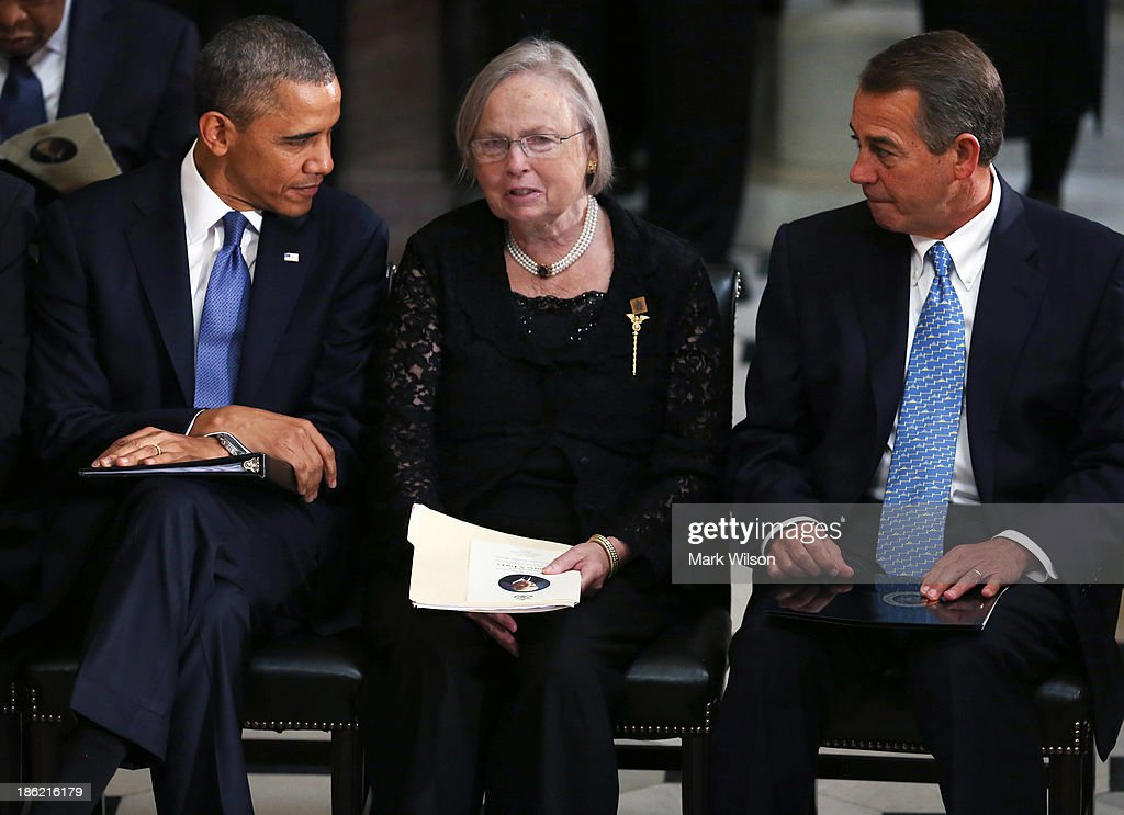 U.S. President <a gi-track='captionPersonalityLinkClicked' href=/galleries/search?phrase=Barack+Obama&family=editorial&specificpeople=203260 ng-click='$event.stopPropagation()'>Barack Obama</a> (L) and House Speaker <a gi-track='captionPersonalityLinkClicked' href=/galleries/search?phrase=John+Boehner&family=editorial&specificpeople=274752 ng-click='$event.stopPropagation()'>John Boehner</a> (R-OH) sit with Heather Foley during a memorial service for for her husband former House Speaker Tom Foley (D-WA) at the U.S. Capitol, October 29, 2013 in Washington, DC. President Obama and members of Congress gathered for a Congressional Memorial Service celebrating the life of former House Speaker Tom Foley (D-WA) who died on October 18.