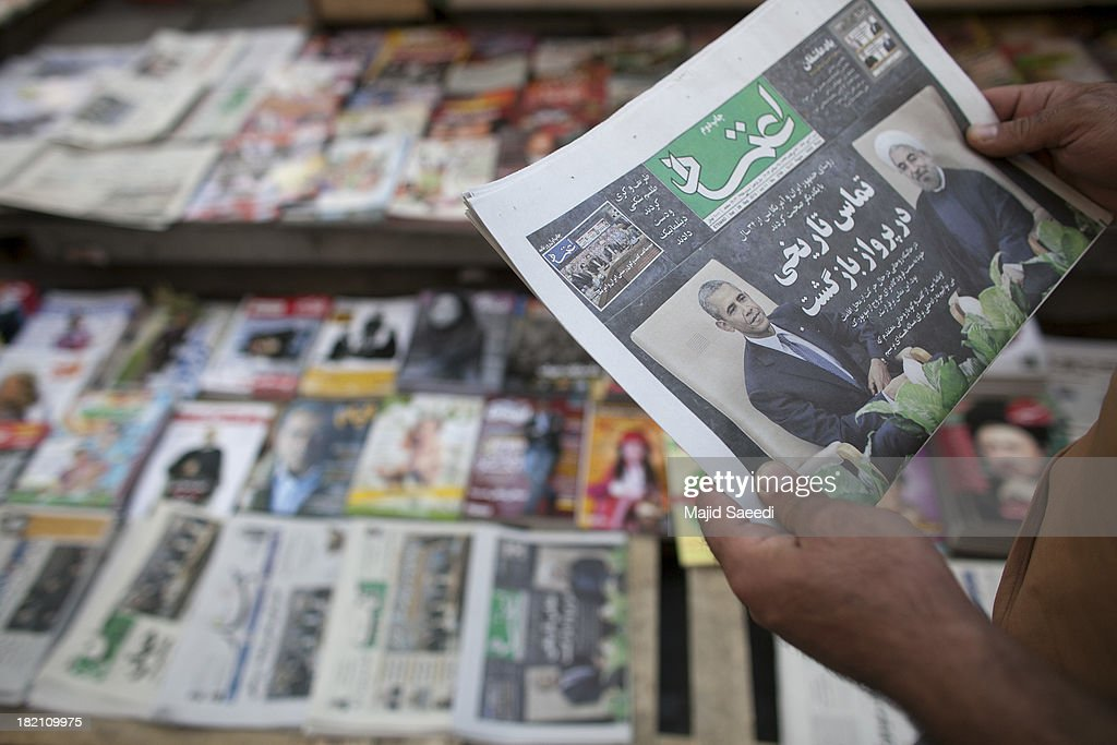 U.S. President Barack Obama and Iranian President Hassan Rouhani are depicted in Iranian newspapers on a newsstand on September 28, 2013 in Tehran, Iran. Hardline Islamists gathered outside the airport to chant ''Death to America'' and ''Death to Israel'' but they were outnumbered by supporters of President Rouhani who shouted 'Thank you Rouhani.' Iranian newspapers hailed the first contact between presidents Rouhani and Obama but warned that Israel would seek to impede the historic opening to Washington.