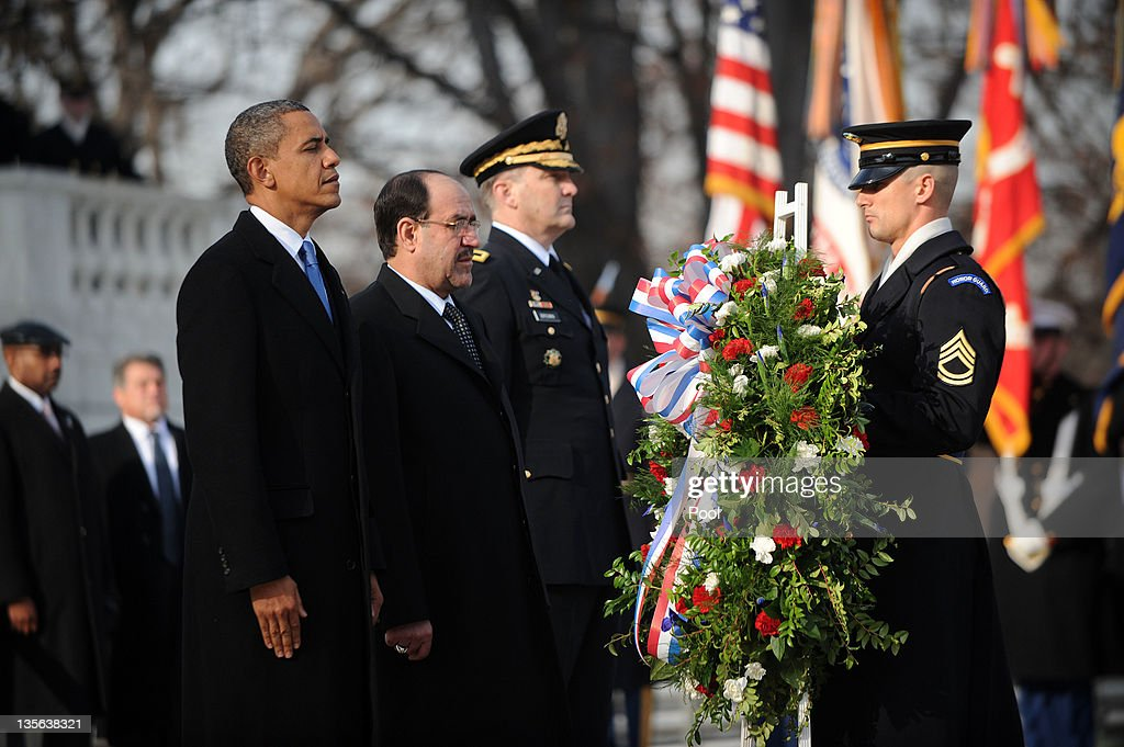 Obama And Iraqi Prime Minister Nouri Al-Maliki Lay Wreath At Arlington
